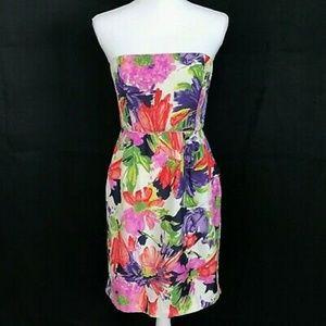 J. CREW 100% Silk Ella Dress Strapless Floral 00P